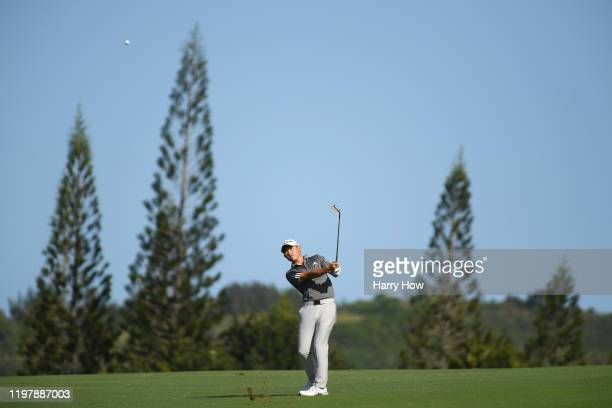 Collin Morikawa of the United States plays a shot on the 12th hole during the final round of the Sentry Tournament Of Champions at the Kapalua...