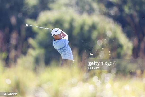 Collin Morikawa of the United States plays a shot on the 13th hole during the first round of The Northern Trust at TPC Boston on August 20, 2020 in...