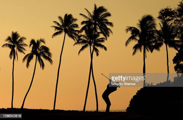 Collin Morikawa of the United States plays his shot from the 11th tee during the second round of the Sony Open in Hawaii at the Waialae Country Club...