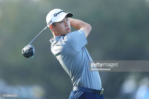Collin Morikawa of the United States plays his shot from the 12th tee during the first round of the Arnold Palmer Invitational Presented by...