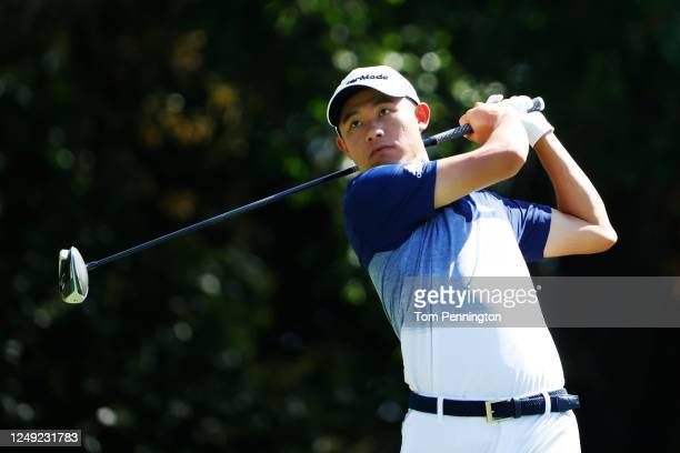 Collin Morikawa of the United States plays his shot from the 12th tee during the second round of the Charles Schwab Challenge on June 12 2020 at...