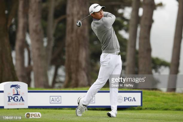 Collin Morikawa of the United States plays his shot from the 15th tee during the final round of the 2020 PGA Championship at TPC Harding Park on...