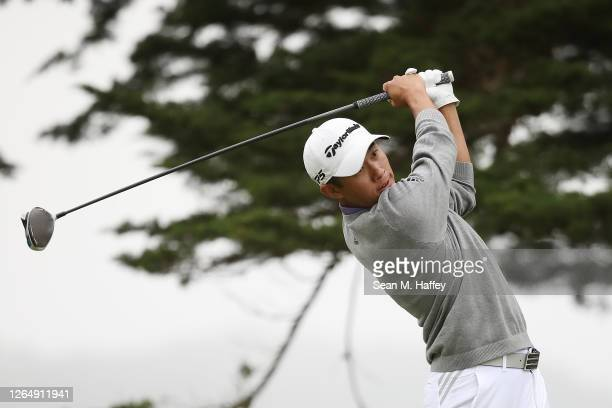 Collin Morikawa of the United States plays his shot from the 16th tee during the final round of the 2020 PGA Championship at TPC Harding Park on...