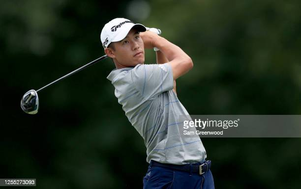 Collin Morikawa of the United States plays his shot from the 18th tee during the first round of the Workday Charity Open on July 09 2020 at Muirfield...