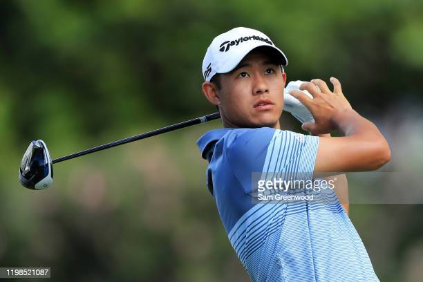 Collin Morikawa of the United States plays his shot from the eighth tee during the first round of the Sony Open in Hawaii at the Waialae Country Club...