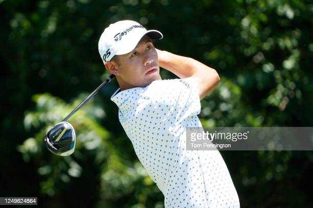 Collin Morikawa of the United States plays his shot from the sixth tee during the final round of the Charles Schwab Challenge on June 14 2020 at...