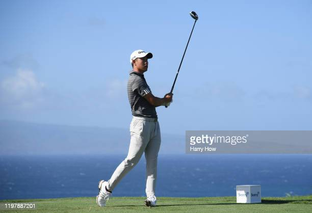 Collin Morikawa of the United States plays his shot from the tenth tee during the final round of the Sentry Tournament Of Champions at the Kapalua...