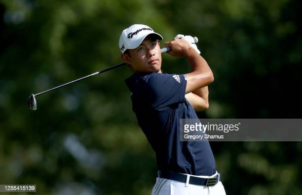 Collin Morikawa of the United States plays his shot from the third tee during the second round of the Workday Charity Open on July 10 2020 at...