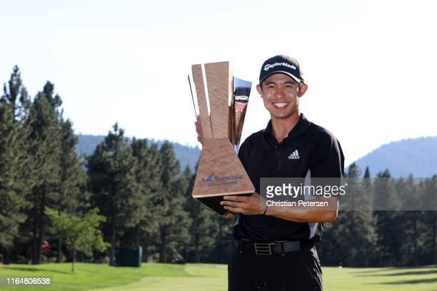 Collin Morikawa of the United States poses with the trophy after winning during the final round of the Barracuda Championship at Montreux Country...