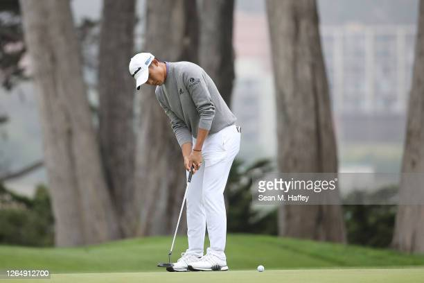 Collin Morikawa of the United States putts for eagle on the 16th green during the final round of the 2020 PGA Championship at TPC Harding Park on...