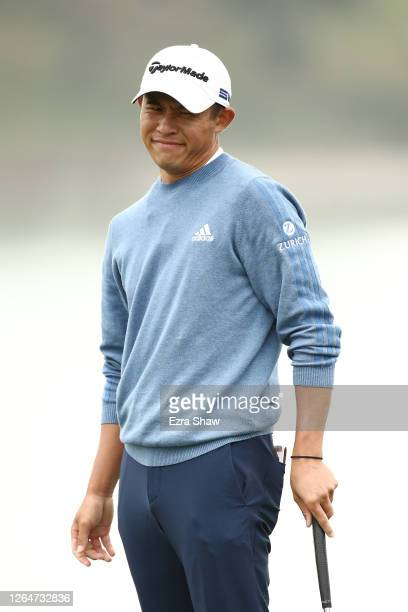 Collin Morikawa of the United States reacts after missing a putt on the 18th green during the third round of the 2020 PGA Championship at TPC Harding...