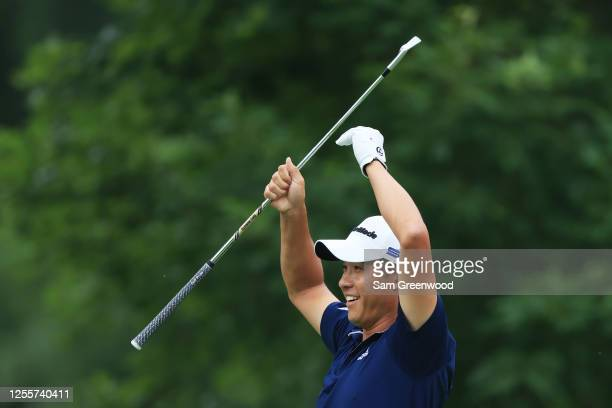 Collin Morikawa of the United States reacts after nearly making a hole in one on the fourth hole during the final round of the Workday Charity Open...