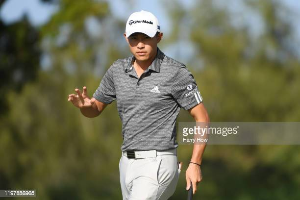 Collin Morikawa of the United States reacts on the 12th green during the final round of the Sentry Tournament Of Champions at the Kapalua Plantation...