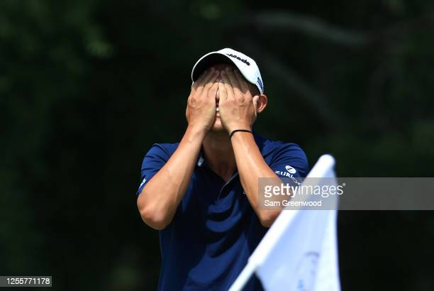 Collin Morikawa of the United States reacts on the 18th green during the final round of the Workday Charity Open on July 12, 2020 at Muirfield...