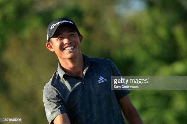 Collin Morikawa of the United States smiles on the 16th green during the final round of World Golf Championships-Workday Championship at The...