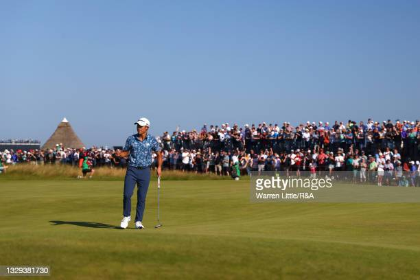 Collin Morikawa of United States celebrates after he putts on the 14th green during Day Four of The 149th Open at Royal St George's Golf Club on July...