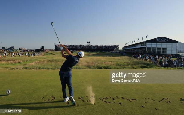 Collin Morikawa of United States tees off on the 16th hole during Day Three of The 149th Open at Royal St George's Golf Club on July 17, 2021 in...