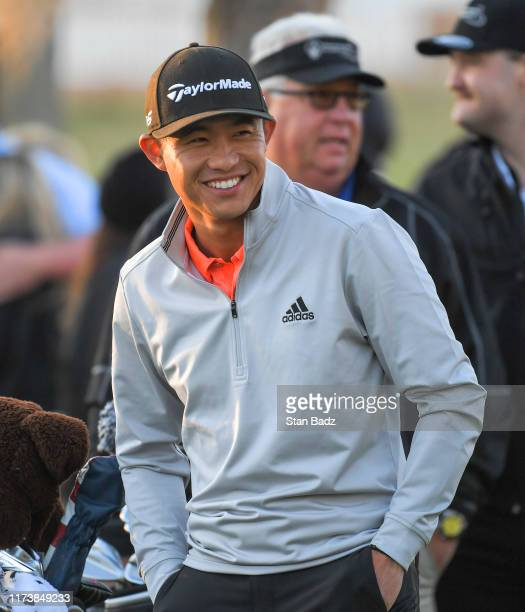 Collin Morikawa watches play on the tenth hole during the second round of the Shriners Hospitals for Children Open at TPC Summerlin on October 4 2019...