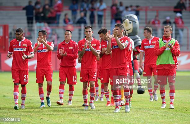 Collin Quaner Kenny Prince Redondo Bobby Wood Roberto Puncec Damir Kreilach and Denis Prychynenko of 1 FC Union Berlin during the game between Union...