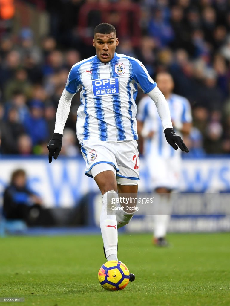 Collin Quaner of Huddersfield during the Premier League match between Huddersfield Town and Burnley at John Smith's Stadium on December 30, 2017 in Huddersfield, England.