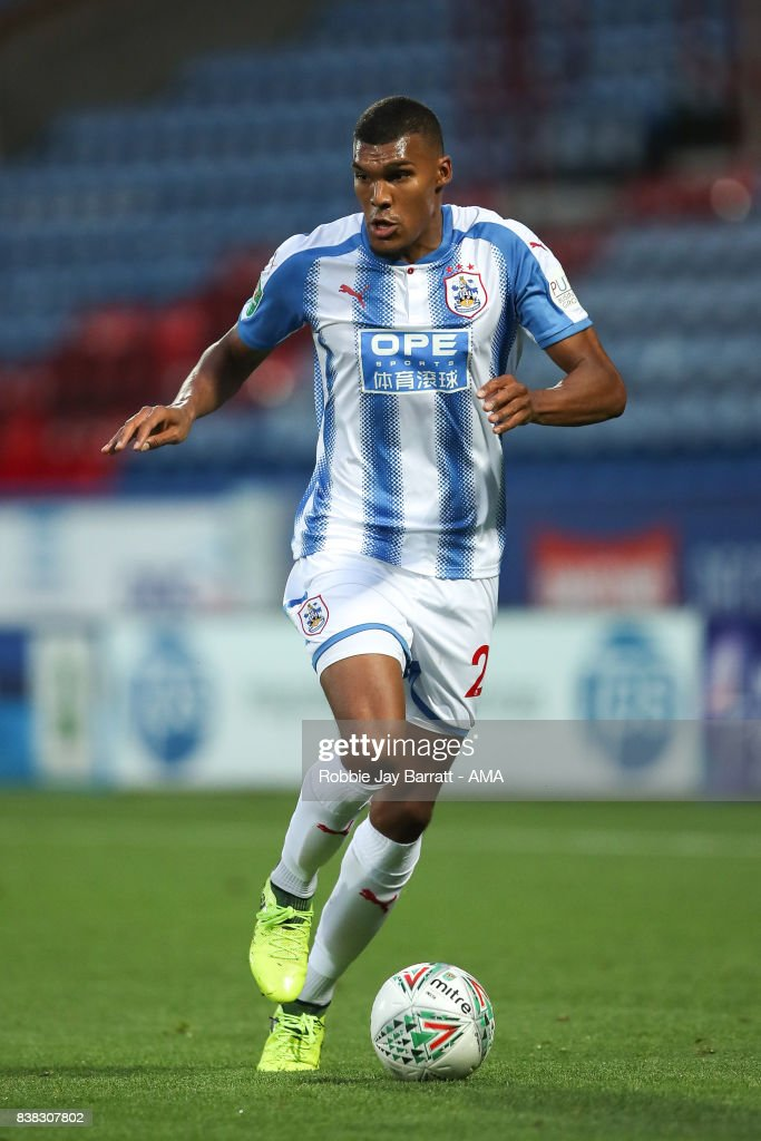 Collin Quaner of Huddersfield Town during the Carabao Cup Second Round match between Huddersfield Town and Rotherham United at The John Smiths Stadium on August 23, 2017 in Huddersfield, England.
