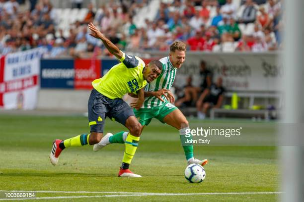 Max Cruse of Erder Bremen and Jonathan Hogg of Huddersfield Town before the Interwetten Cup match between Huddersfield Town and Real Betis at Stadion...