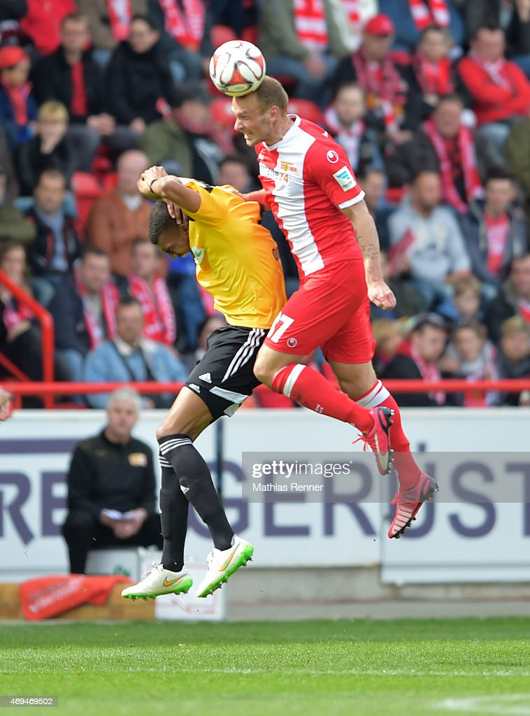 Collin Quaner of VfR Aalen and Toni Leistner of 1 FC Union Berlin during the game between Union Berlin and VfR Aalen on april 12, 2015 in Berlin, Germany.
