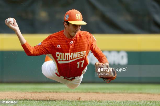 Collin Ross of the Southwest Team from Texas fields a ball hit by Japan in the first inning during the Championship Game of the Little League World...