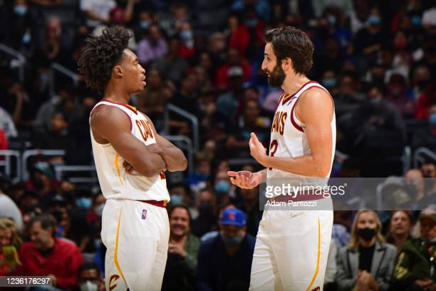 Collin Sexton and Ricky Rubio of the Cleveland Cavaliers talk on court during the game against the LA Clippers on October 27, 2021 at STAPLES Center...