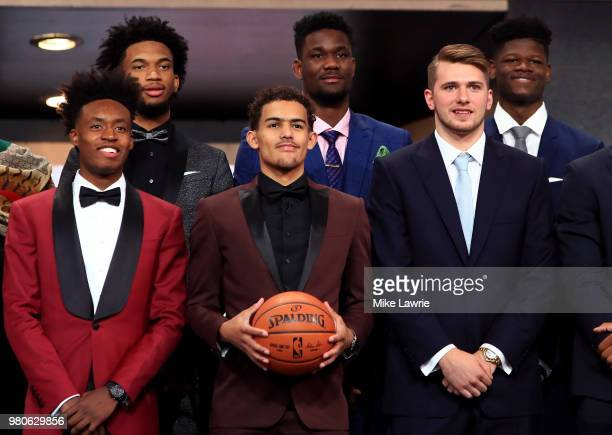 Collin Sexton Marvin Bagley III Trae Young Deandre Ayton Luka Doncic and Mohamed Bamba pose for a photo before the 2018 NBA Draft at the Barclays...