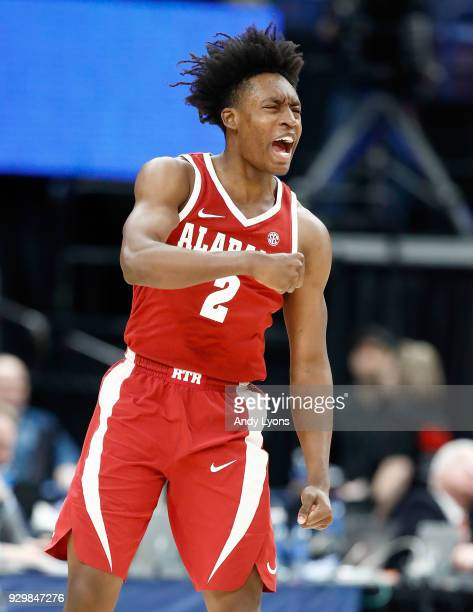 Collin Sexton of the Alabama Crimson Tide celebrates in the 8163 win over the Auburn Tigers during the quarterfinals round of the 2018 SEC Basketball...