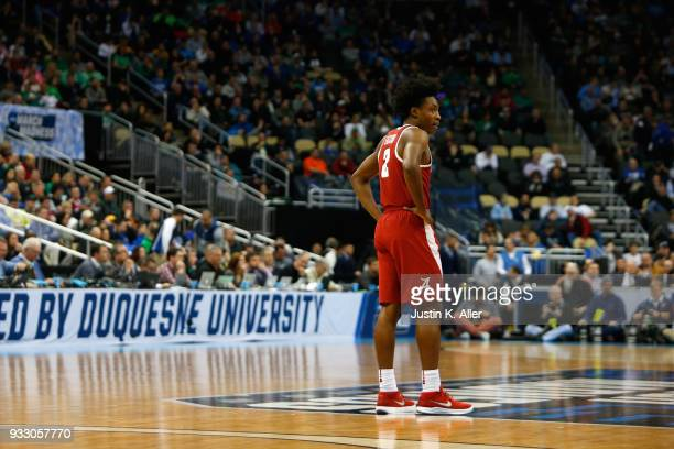 Collin Sexton of the Alabama Crimson Tide reacts against the Villanova Wildcats during the first half in the second round of the 2018 NCAA Men's...
