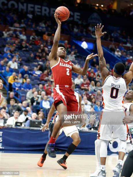 Collin Sexton of the Alabama Crimson Tide shoots the ball against the Auburn Tigers during the quarterfinals round of the 2018 SEC Basketball...