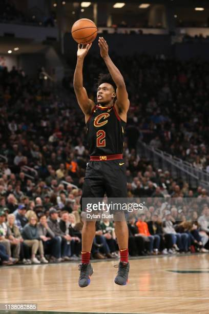 Collin Sexton of the Cleveland Cavaliers attempts a shot in the second quarter against the Milwaukee Bucks at the Fiserv Forum on March 24 2019 in...