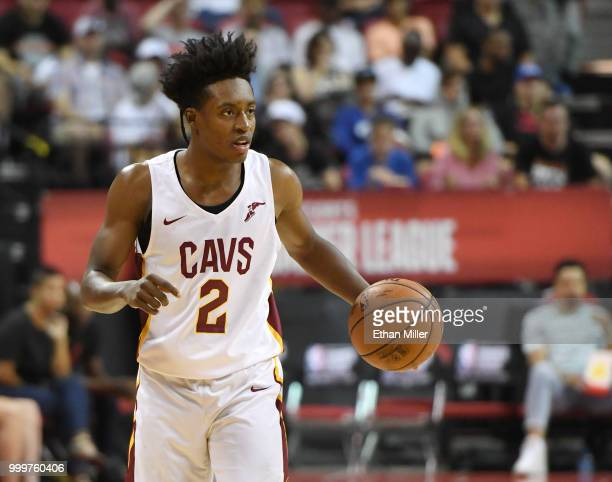 Collin Sexton of the Cleveland Cavaliers brings the ball up the court against the Toronto Raptors during a quarterfinal game of the 2018 NBA Summer...