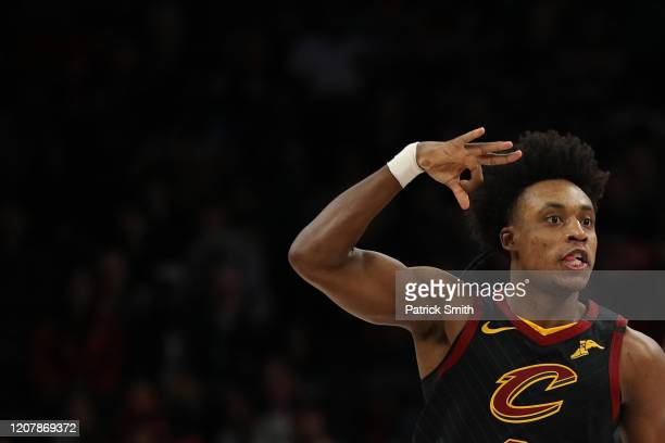 Collin Sexton of the Cleveland Cavaliers celebrates his threepointer against the Washington Wizards during the second half at Capital One Arena on...