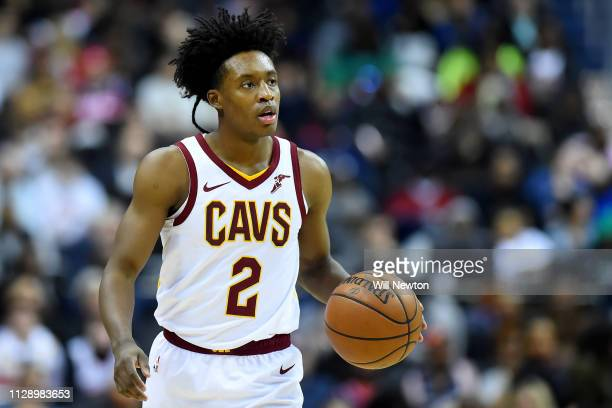 Collin Sexton of the Cleveland Cavaliers dribbles against the Washington Wizards during the second half at Capital One Arena on February 8 2019 in...
