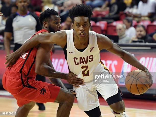 Collin Sexton of the Cleveland Cavaliers drives against Codi MillerMcIntyre of the Toronto Raptors during a quarterfinal game of the 2018 NBA Summer...