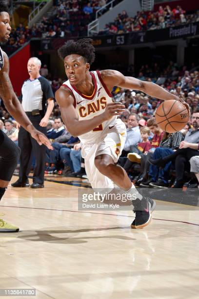 Collin Sexton of the Cleveland Cavaliers drives to the basket against the San Antonio Spurs on April 7 2019 at Quicken Loans Arena in Cleveland Ohio...