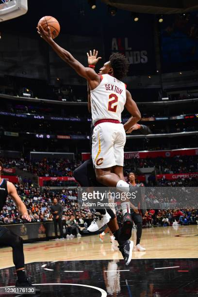 Collin Sexton of the Cleveland Cavaliers drives to the basket against the LA Clippers on October 27, 2021 at STAPLES Center in Los Angeles,...