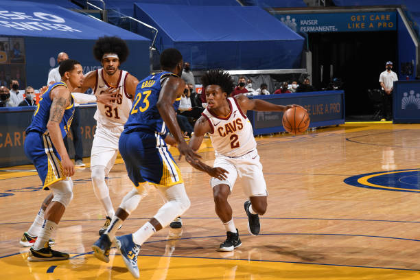 Collin Sexton of the Cleveland Cavaliers drives to the basket during the game against the Golden State Warriors on February 15, 2021 at Chase Center...