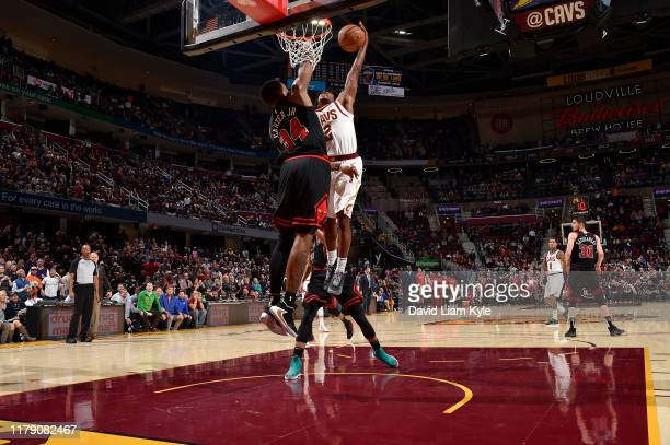 Collin Sexton of the Cleveland Cavaliers dunks the ball against the Chicago Bulls on October 30 2019 at Rocket Mortgage FieldHouse in Cleveland Ohio...