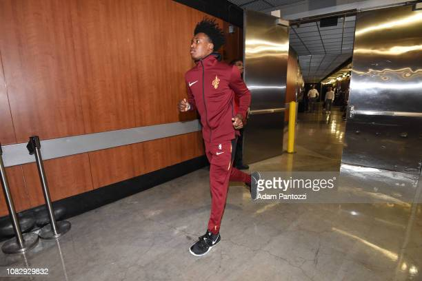 Collin Sexton of the Cleveland Cavaliers enters the arena prior to the game against the Los Angeles Lakers on January 13 2019 at STAPLES Center in...