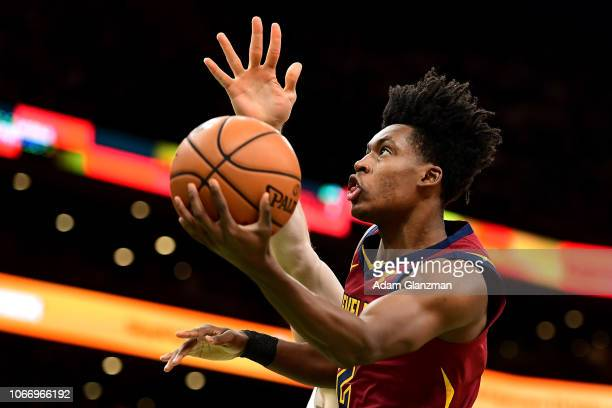 Collin Sexton of the Cleveland Cavaliers goes up for a layup in the first quarter of a game against the Boston Celtics at TD Garden on November 30...