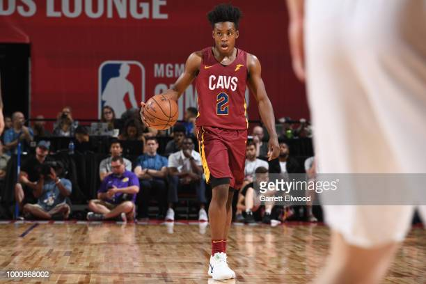 Collin Sexton of the Cleveland Cavaliers handles the ball against the Los Angeles Lakers during the 2018 Las Vegas Summer League on July 16 2018 at...