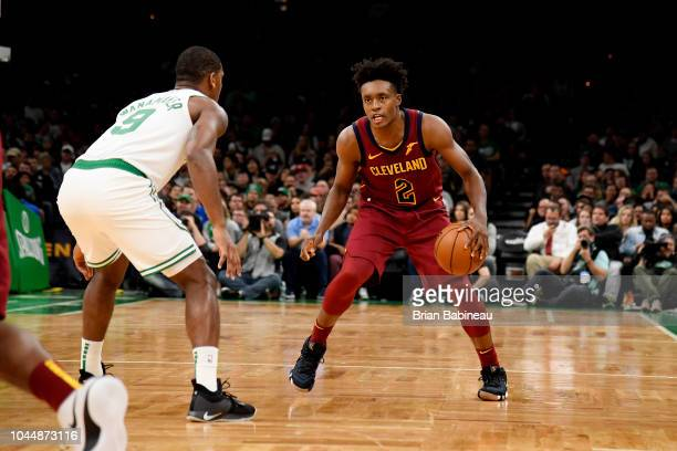 Collin Sexton of the Cleveland Cavaliers handles the ball against the Boston Celtics during a preseason game on October 2 2018 at the TD Garden in...