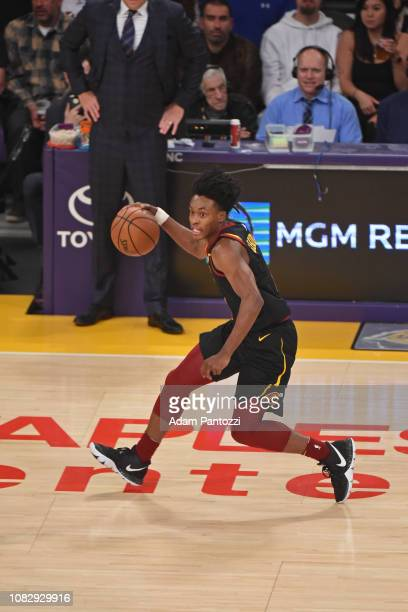 Collin Sexton of the Cleveland Cavaliers handles the ball against the Los Angeles Lakers on January 13 2019 at STAPLES Center in Los Angeles...
