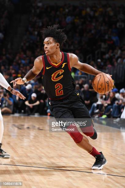 Collin Sexton of the Cleveland Cavaliers handles the ball against the Denver Nuggets on January 19 2019 at the Pepsi Center in Denver Colorado NOTE...