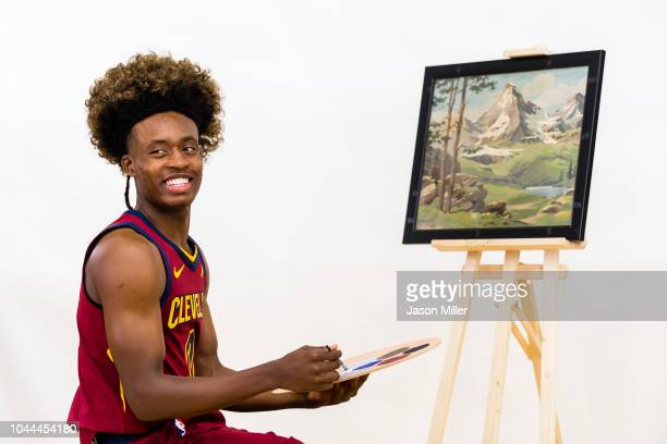 Collin Sexton of the Cleveland Cavaliers impersonates painter Bob Ross for Cavs social media on Media Day at Cleveland Clinic Courts on September 24...