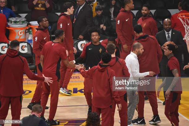 Collin Sexton of the Cleveland Cavaliers is introduced prior to the game against the Los Angeles Lakers on January 13 2019 at STAPLES Center in Los...